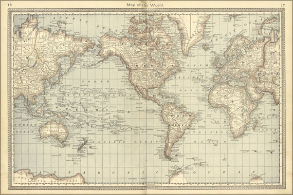 24x36 Poster World Map 1881