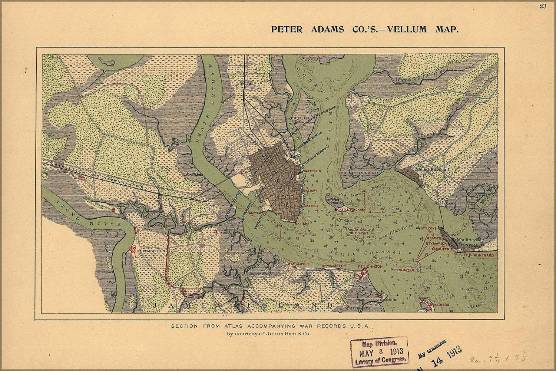 24x36 Poster Civil War Map Of Charleston Harbor Defenses