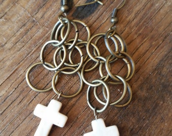 Brass Rings With Ivory Cross