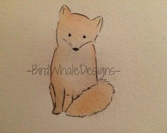 Watercolor Fox Print -- Custom Animal Paintings
