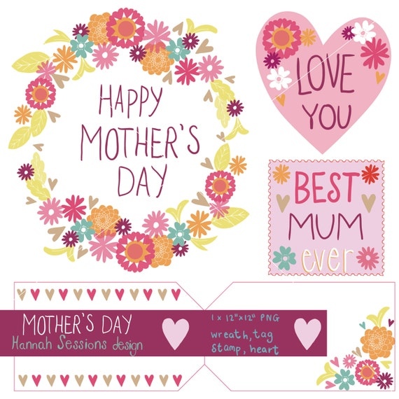 Printable Mothers Day Clip Art Mothers Wreath Mum Stamp