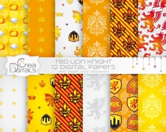 Lion knight - 12 red and yellow digital papers - INSTANT DOWNLOAD