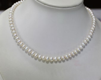 Ivory Pearl Necklaces,Freshwater pearl 6-7mm ivory Pearl Necklace,wedding necklace,Classic Pearl Necklace,pearl jewelry