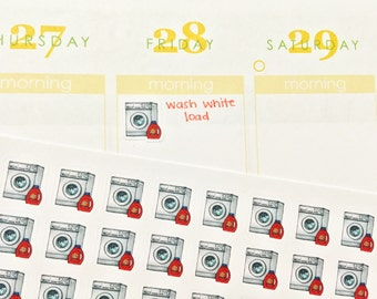 36 Laundry/Washing Machine Stickers! Perfect for your Erin Condren Life Planner, Filofax, Plum Paper & other planner or scrapbooking!