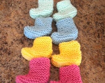 Pastel Preemie Booties, Knit Baby Socks, Baby Shower