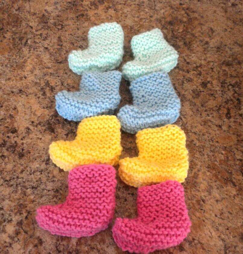 Preemie Baby Booties Knitting Pattern : Pastel Preemie Booties Knit Baby Socks Baby Shower