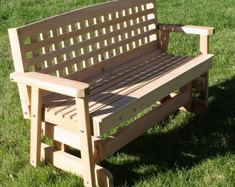 Brand New 4 Foot Cedar Wood Lattice Outdoor Glider - Free Shipping
