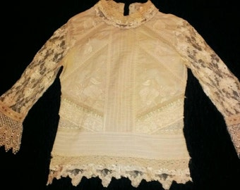 Vintage 70's lace Whistles london blouse , Halloween costume , party , fun