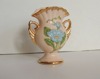 Vase, Hull Art Pottery, Pink w/ Blue Magnolia and gold trim, Marked H-6-6 1/2