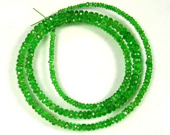 "Tsavorite garnet faceted rondelle beads AAA+ 2.5-5mm 18"" strand"