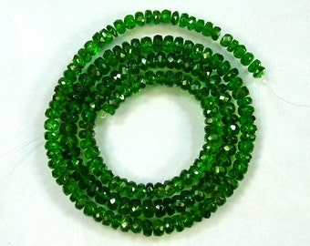 """Chrome diopside faceted rondelle beads AAA 3-5mm 17.5"""" strand"""