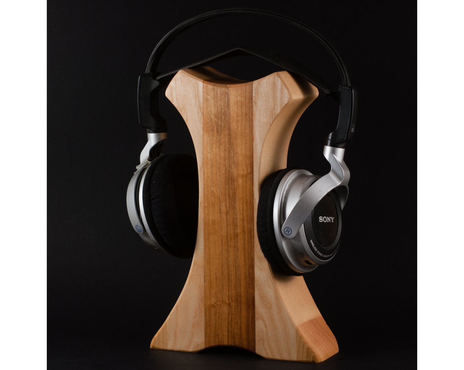 Wooden headphone stand by hollossywoodworks on etsy - Wooden headphone holder ...