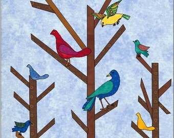 Birds on Trees Pattern - Bird Quilt Block - Quilt Appliqué - Instant Download - Block Pattern - Quilt Pattern - Quilt Block - Block Pattern