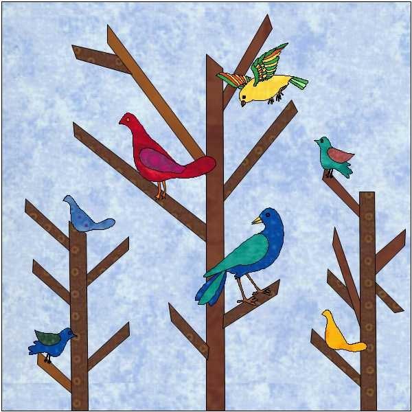 birds on trees pattern bird quilt block quilt appliqu u00e9