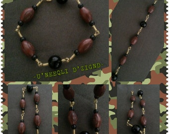 TOUCHDOWN! Beautiful Football Bracelet with Black Beads!