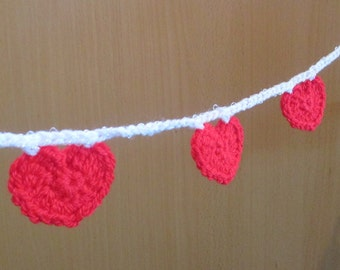 Crochet red heart bunting