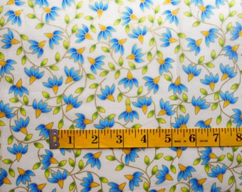 Blue and Yellow Flower Fabric