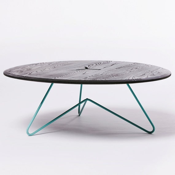 Items Similar To Coffee Table Modern Design Black Ash Wood On Seafoam Powdercoated Metal On Etsy