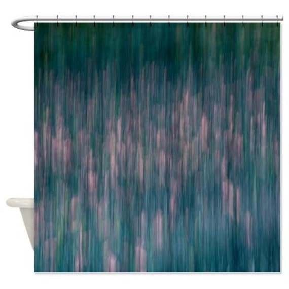 Abstract Shower Curtain Teal Green Pink