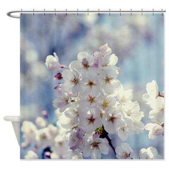 Shower Curtains cherry blossom shower curtains : Cherry blossom shower curtain tree shower curtain blue &