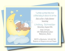 Moon and Stars Baby Shower Invitation-African American Baby Shower Invitation- Over The Moon Boy Baby Shower Printable Invitation- You Print