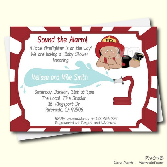 Items Similar To Diy Firefighter Baby Shower Invitation African