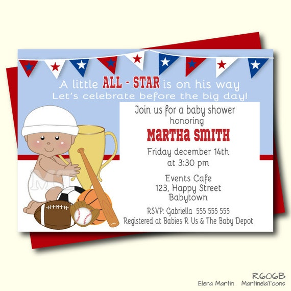 allstar sports baby shower invitation sports theme baby by, Baby shower invitations