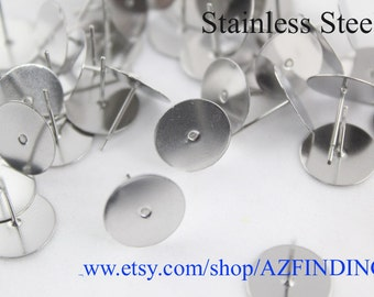 100pcs Surgical Stainless Steel Flat Pad Earring Studs with backs-Stainless Steel Earposts~Flat Back Earring Posts-Glue On Posts-N size-