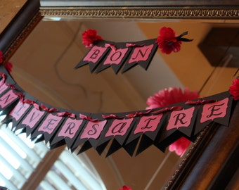 Happy Birthday Banner in French; Paris Theme Party Banner; Paris Party Decorations