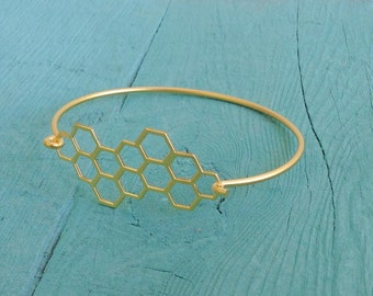 Beehive Bracelet, Minimal Gold Bracelet,  Honeycomb Bracelet, Hexagon Bracelet, Geometric Bracelet,  Nature Jewelry, Gift Under 20
