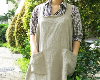 SALE! Linen Pinafore Apron - Heavyweight 100% Flax Linen, Japanese Apron, Crossback Apron, Linen Pinafore Apron, No tie apron, Square Cross