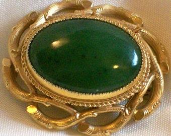 Vintage Danecraft 1/20 12K Gold Filled Faux Jade Brooch Pin 12K Gold Fill Green