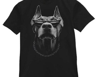 Doberman Pinscher Dog Breed Black & White Portrait Gangsta Funny T-Shirt (18)