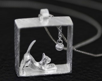 925 Sterling Silver Cat Pendant Necklace - Silver Cat Necklace - Silver Cat Jewelry - Silver Cat Charm - Animal Jewelry - Cat Lover Gift