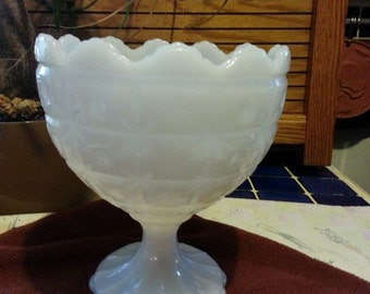 white milk glass NAPCO compote gultted pattern #1185