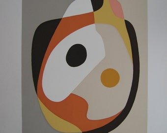 Head - Mid-Century Modern Abstract Limited Edition Silkscreen Print, 1970