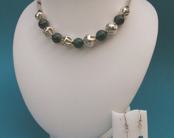 Necklace and earrings made of 925 Silver and chysocoll