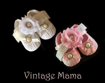 Baby Girl Shoes with Matching Headband - for Newborns (Pink or White)