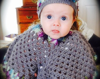 Poncho and Hat Set for Baby!  3-6 months