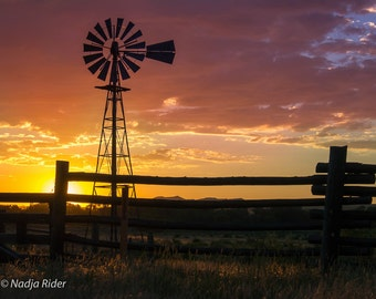 Rural Northwest Colorado Sunset with Windmill - Fine Art Nature Photography Print