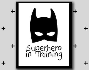 Printable batman superhero artwork - superhero in training wall art - boys room superhero - monochrome - INSTANT DIGITAL DOWNLOAD