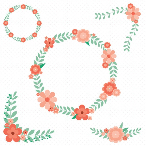 5 Floral Clip Art Flower Wreath Clip Art Floral Wedding Clipart Vintage Flower Flower Frames