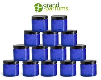 100 Cobalt Blue PET Plastic Empty Cosmetic Jars .5 Oz 15mL w/ Black Caps Lip Gloss, Balms, Salves, Samples, Travel Container, Beads,