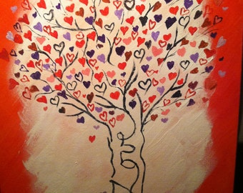 Love Blooms Tree, 11x14 Acrylic on Panel Painting