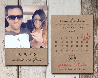 Fun Save The Date card with a peronal photo and calendar on a kraft paper background.