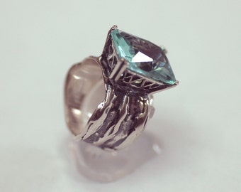Silver ring with stone AQUA GLASS Netafim style