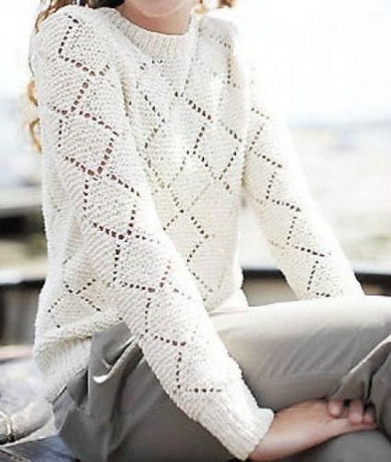 Knitting Pattern For Lace Jumper : womens lace sweater knitting pattern 99p