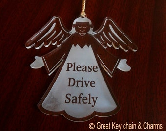 Angel Car Ornament, Please Drive Safely Car  Rear view Mirror Ornament, Angel Car Accessory, Angel Car Charm, Parent to Child Car Charm.