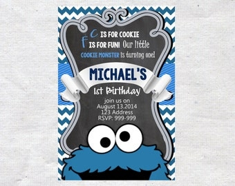 Cookie Monster Birthday invite,Cookie Monster invite,JPG file,Invite,Birthday Invite,Cookie Monster Party, Birthday invitation