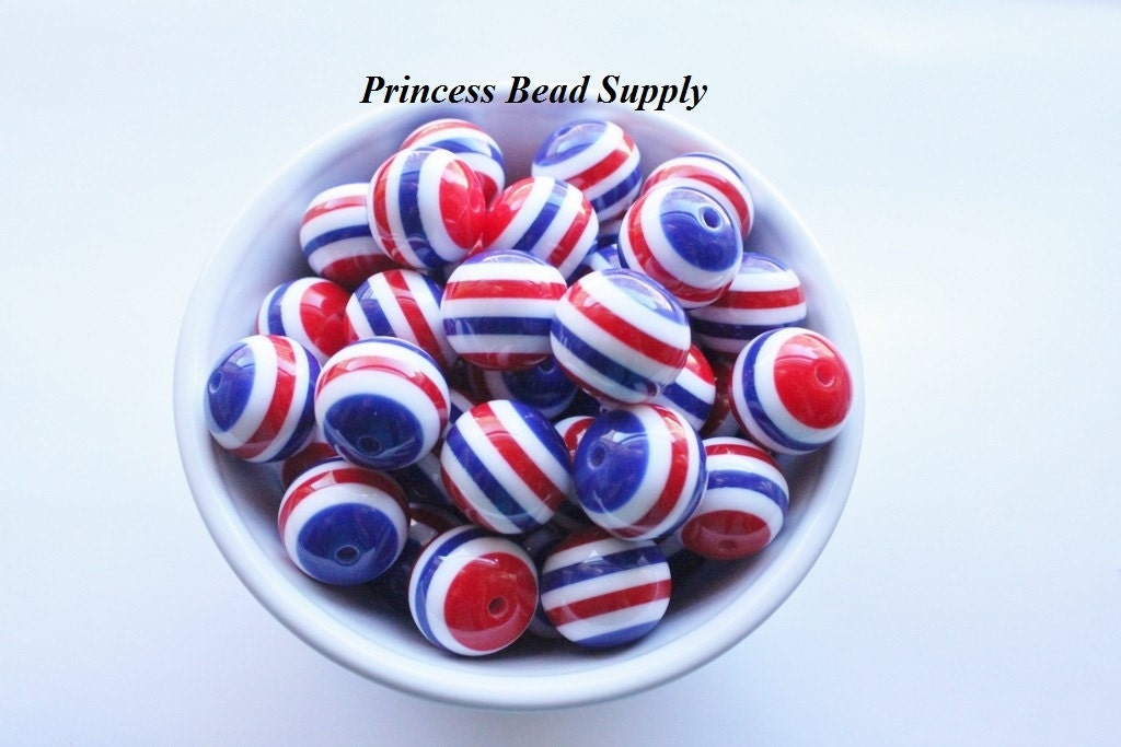 Red white blue striped beads